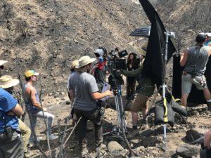 drone crew on set